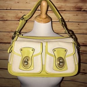 Coach Lime Green Legacy Canvas Satchel